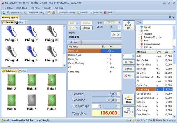 Phần mềm tính tiền quản lý quán Kara
