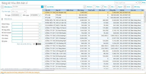 Giao diện báo cáo phần mềm tính tiền tạp hóa