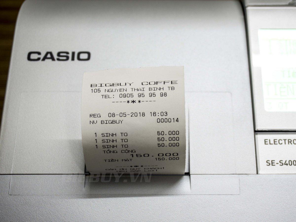 thông tin khi in máy tính tiền casio se s400